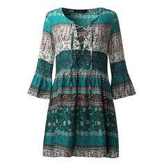 Sage Boho Casual Mini Dress