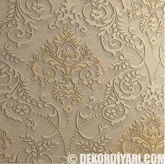 Kabartma desenli simli salon lüks duvar kağıdı modelleri ve tasarımları 2016