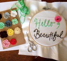 hello beautiful floral hand embroidery hoop art door RecklessCrush