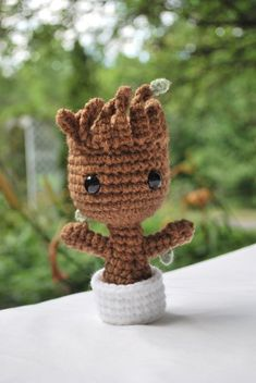 Crochet baby Groot from Guardians of the Galaxy. Made to order. 100% acrylic yarn. Measurements: ~5 inches tall ~3 1/2 inches wide NOTE: Shipping to Canada comes with a tracking number. Shipping to the US or other does not come with tracking. IF YOURE NOT IN CANADA AND WOULD LIKE TO