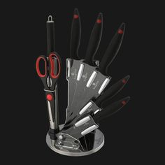 Berlinger Haus - 8 pcs knife set on stand, Stone Touch Line – Dynamex LifeStyle Knife Sets, Cookware, Touch, Lifestyle, Stone, Design, House, Diy Kitchen Appliances, Kitchen Gadgets