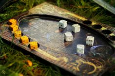 A simple version of dice poker board from The Witcher PC game. I made the board and dice. Photo by Gabriela Goffová. Pc Game, The Witcher, Dice, Poker, Boards, Simple, Planks, Pc Games