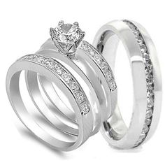 4 pcs his and hers stainless steel wedding engagement ring set size mens 11 womens