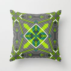 abstract green 3 Throw Pillow by ErDavid - $20.00