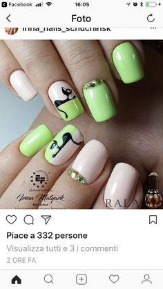 Pin by lenny coromoto on uñas Cat Nail Art, Animal Nail Art, Cat Nails, Nail Polish Art, Funky Nails, Toe Nail Designs, Nail Arts, Halloween Nails, Nails Inspiration