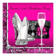 Pink Birthday Invitations Womans Hot Pink Birthday Party Card