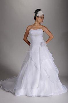 trägerloser Ausschnitt Organza 3/4 Arm Brautkleider 2014