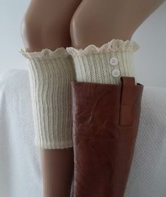Ivory knit boot cuffs with lace and buttons boho boot socks lace cuffs women's accessory leg warmers back to school Lace Boot Cuffs, Knitted Boot Cuffs, Knit Boots, Boho Boots, How To Purl Knit, Madame, Leggings, Trends, Boho Outfits