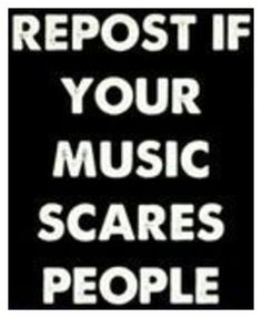 """pretty much of where i live is freaked out by the music i listen to. They call it """"emo-screamo"""", i just turn the music up louder. Seriously """"emo-screamo"""", they sound like they've never had an education Iron Maiden, Music Is Life, My Music, Rock Music, Step Dance, Johnlock, Destiel, Bvb Fan, Tenacious D"""