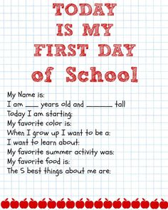 First Day of School Printable Questions #BTS #Backtoschool #Kids #printable