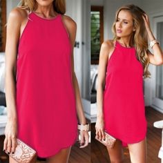 New Fashion Women Sexy Casual Round Neck Sleeveless Irregular Solid A-Line Short Dress