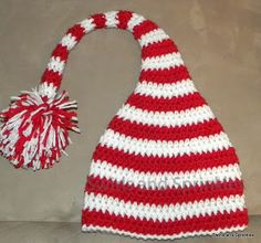 Free pattern, My Favorite Crochet Elf Hat Pattern by Swirls and Sprinkles. Uses worsted or aran weight yarn.
