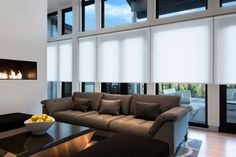 JGeiger Shading Technology installed in a living room Window Coverings, Window Treatments, Showroom Design, Interior Design, Motorized Shades, Modern Blinds, Windows And Doors, Interior Inspiration, Architecture Design