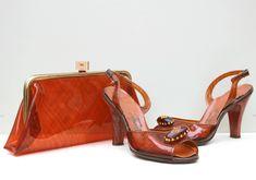Vintage 1950s 50s Clear Tortoise Shell Amber Heels Shoes Matching Clutch Bag Purse Set UK 5 US 7.5 rockabilly pinup handbag pumps slingback  vintage-1950s-clear-tortoise-shell