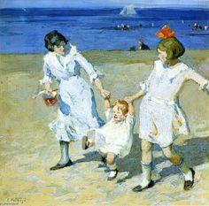 Deux femmes battantes un enfant, huile sur toile de Edward Henry Potthast (1879-1881, United States)