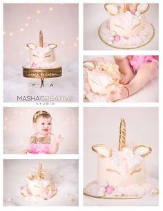 Unique Unicorn Cake Smash with gold horn and beautiful blue eyed toddler - 1st Birthday cake smash #cakesmash #unicorn -- Photography by Masha Creative, Cake by Lady K's Bakery, Set design by Design by Alexandra in NJ