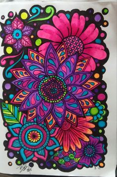 Coloring tips, coloring books, coloring pages, adult coloring, flower paint Coloring Book Art, Coloring Tips, Adult Coloring, Colorful Drawings, Art Drawings, Tangle Art, Mandala Drawing, Hippie Art, Psychedelic Art