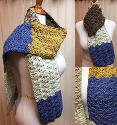 Crochet Scarf, Royal Blue Scarf, Shell Stitch Scarf, Blue and Brown Scarf, Blue Crochet Scarf, Blue Winter Scarf, Unisex Scarf by CozyNCuteCrochet on Etsy