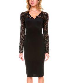 Stanzino Black Lace V-Neck Sheath Dress - Women | zulily