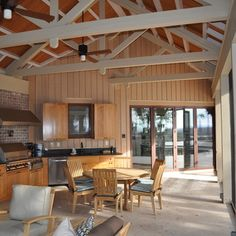 Exposed Ceiling: love that the ceiling is natural wood and the trusses ...