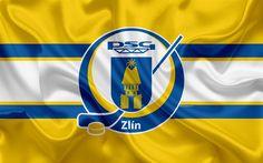 Download wallpapers Zlin HC, Aukro Berani Zlin, 4k, Czech hockey club, emblem, logo, Czech Extraliga, silk flag, hockey, Zlin, Czech Republic
