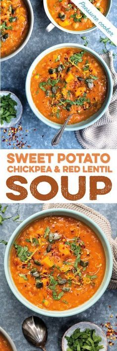 This delicious and hearty pressure cooker sweet potato, chickpea and red lentil soup cooks in just 10 minutes in your pressure cooker. #vegan #glutenfree #pressurecooker #instantpot #soup