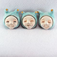 Mint Happy Creatures / wall hanging clay figurines / by MouMee, €24.00
