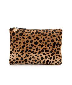 leopard flat clutch