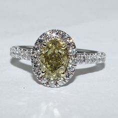 c1bea0d6b0a034 18k White Gold Fancy Yellow Diamond Engagement Ring with 2.64 ct of Natural  Oval and Round
