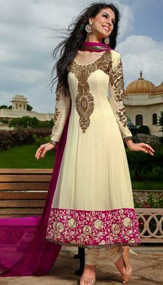USD 147.31 Cream Georgette Embroidered Anarkali Salwar Suit 27249