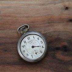 Vintage Pocket watch silver toned ingersoll trump