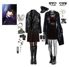 """""""Siouxie Sioux, watch over us"""" by pink-era-the1975 ❤ liked on Polyvore featuring Pretty Polly, Dorothy Perkins, Neon Hart, Thierry Mugler, River Island, Karl Lagerfeld, The Damned, OKA and Aloha Rag"""