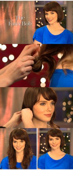 Want a bob but don't want to cut your hair? Here's how to do a faux bob!