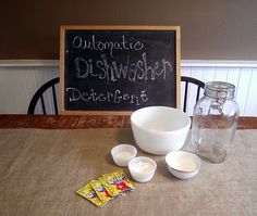homeade dishwasher detergent. need to try. the koolaid is added to work like a spot remover