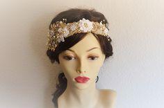 Ivory and Gold headband, boho bride, lace headband gold and ivory, heirloom headband, www.yanethandco.etsy.com