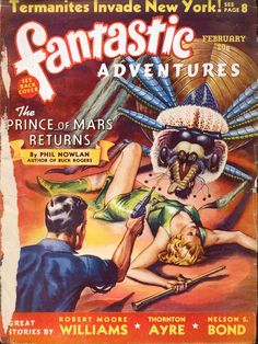 Comic Book Cover For Fantastic Adventures v02 02 -The Prince of Mars Returns - Phil Nowlan p1