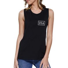 Mini USA Womens Black Graphic Muscle Tee Simple Design Workout Tee