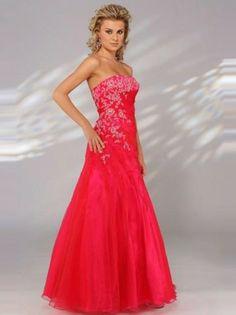 Prom Dress, Prom Dresses, 2014 Style A-line Strapless Applique Sleeveless Floor-length OrganzaProm Dresses/Evening Dresses