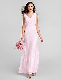 A-line V-neck Floor-length Chiffon Bridesmaid Dress With Criss-Cross Bodice