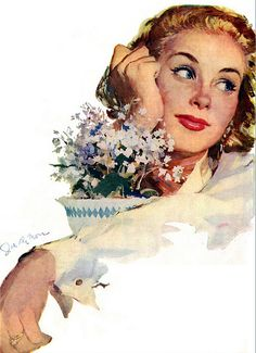 """Joe De Mers This painting was with the story """"Once There Was A Girl"""" in McCall's magazine in January 1952."""