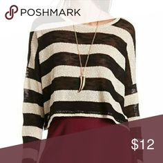 Black & White striped crop sweater This sweater is both cute end sexy! Only worn a couple times max, it's in perfect condition. It's listed as being a crop top but it's not too short. I'd say for someone ranging in height from 5'0-5'3, the bottom of top hits around the belly button area :) Charlotte Russe Sweaters Crew & Scoop Necks