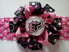 Fox Racing Inspired Pink and Black Loopy Hair Bow $4  Like us on Facebook:) MomBow Number Five
