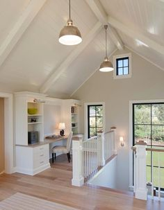 Scott Christopher Homes - entrances/foyers - greige walls, greige wall color, vaulted ceilings, white vaulted ceilings, white spindles, whit...