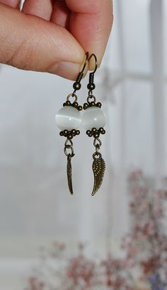 Excited to share the latest addition to my #etsy shop: BoHo Earrings Dangle - Angel Wing Earrings Handmade - Antique Brass Earrings - Bohemian Jewelry For Her - Cat Eye Beads Earrings For Women https://etsy.me/2EEHjdB #jewelry #earrings #white #boho #earwire #girls #br