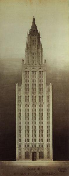 Chicago Tribune Tower Competition Entry: Michigan Avenue Elevation, 1922. Richard Yoshijiro Mine.