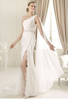 Chiffon and Lace One-shoulder Neckline Sheath Wedding Dress with Slit Skirt 583466