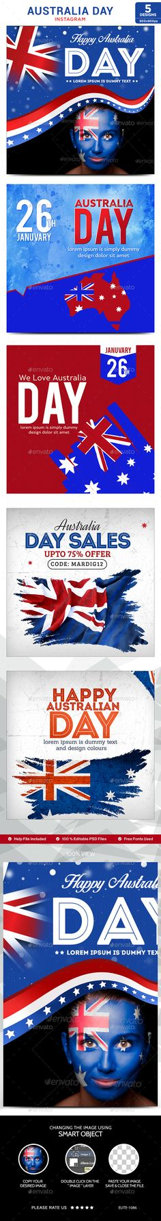 Australia Day instgram Templates  5 Designs — Photoshop PSD #gif banner #banner set • Available here → https://graphicriver.net/item/australia-day-instgram-templates-5-designs/14539243?ref=pxcr