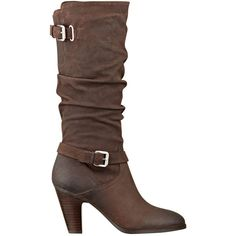 GUESS Magy Slouch Boots ($100) ❤ liked on Polyvore featuring shoes, boots, heels, botas, brown, dark brown leather, mid-calf boots, knee high leather boots, stacked heel boots and brown slouch boots
