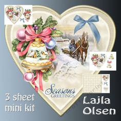 Christmas Heart 4 by Lajla Olsen Makes a christmas cardtopper with decoupage and tags.3 sheets for you to print.Enjoy:): Makes a christmas…