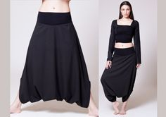 Black Cotton Diamond Pattern Harem Skirt Pants  by MichalRomem, $110.00